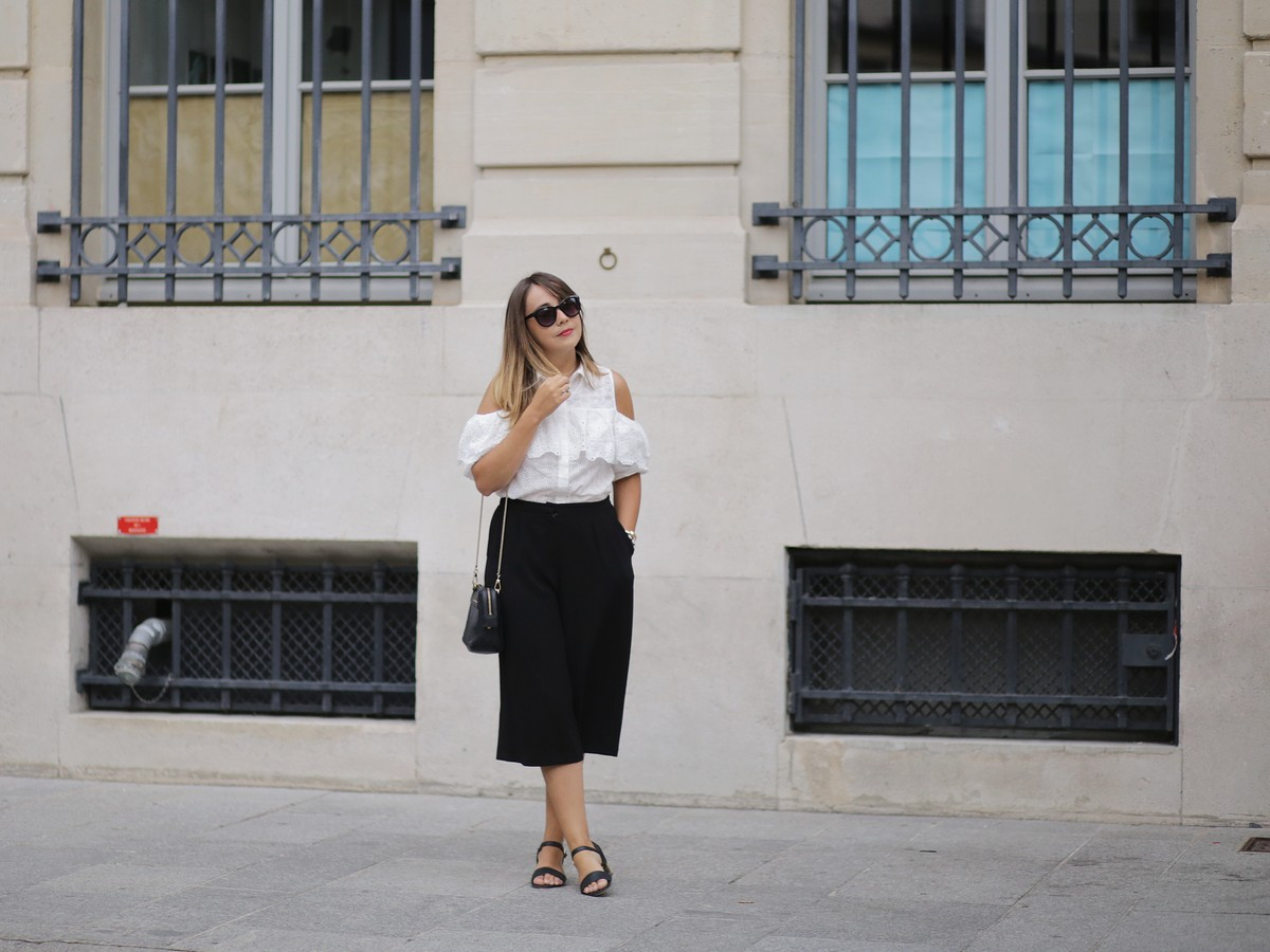 we are the models - Back to work - outfit - jupe culotte - offshoulders