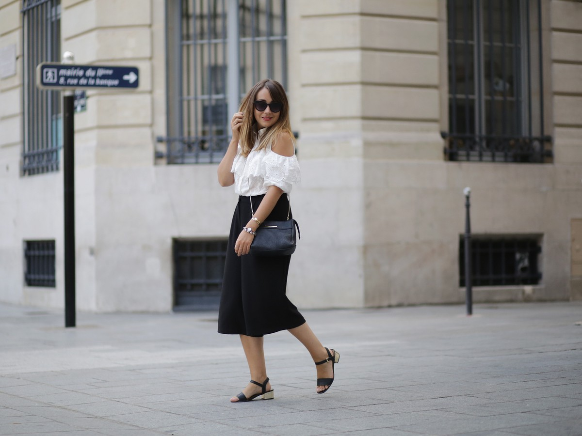 we are the models - backtowork - outfit - jupe culotte - offshoulders