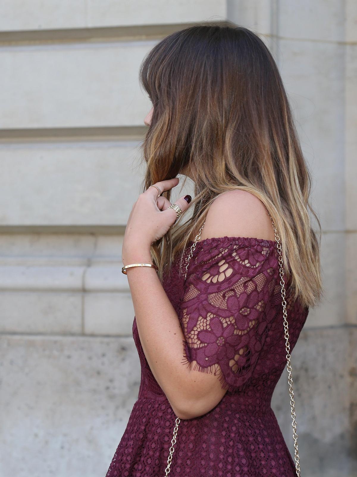 robe dentelle bordeaux - boohoo - girls night - party - robe de soirée