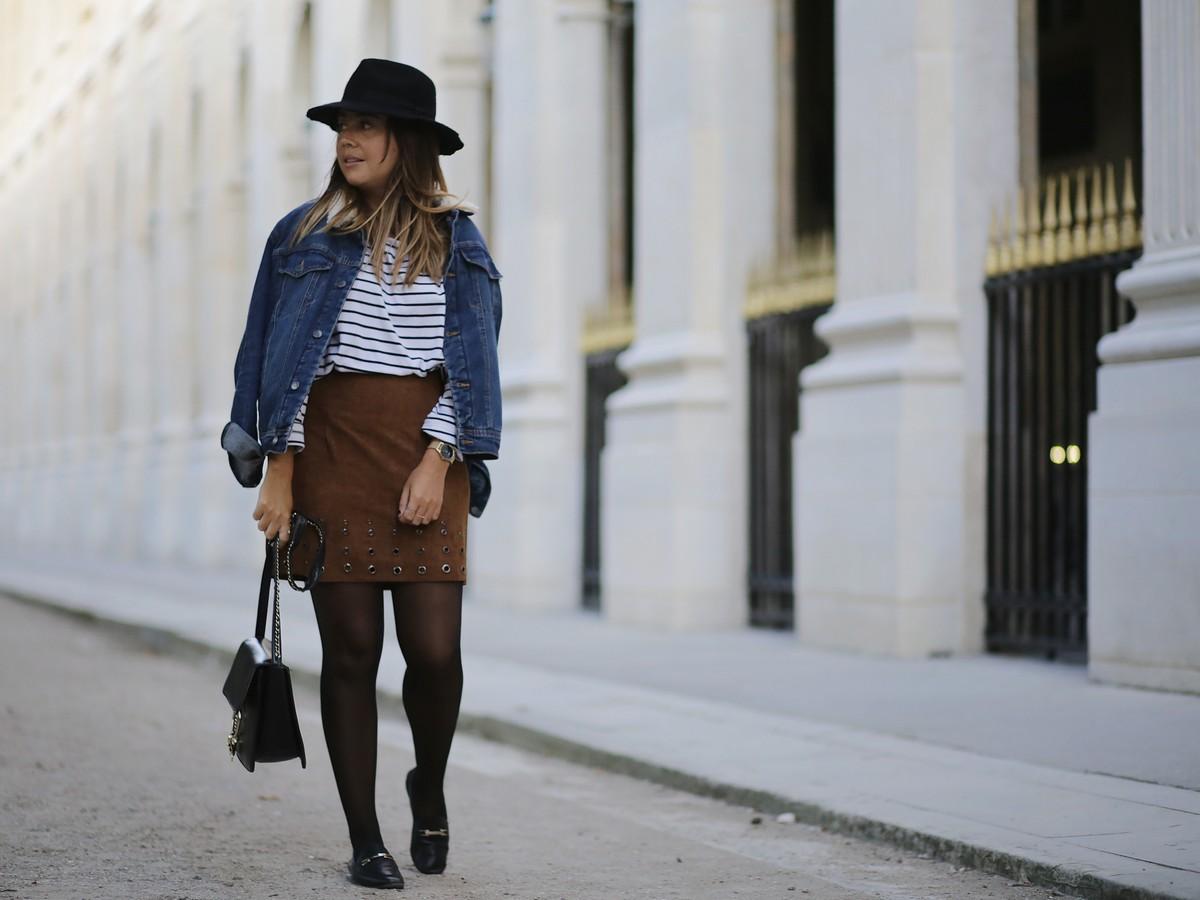jupe en daim - streetstyle - mariniere - look casual