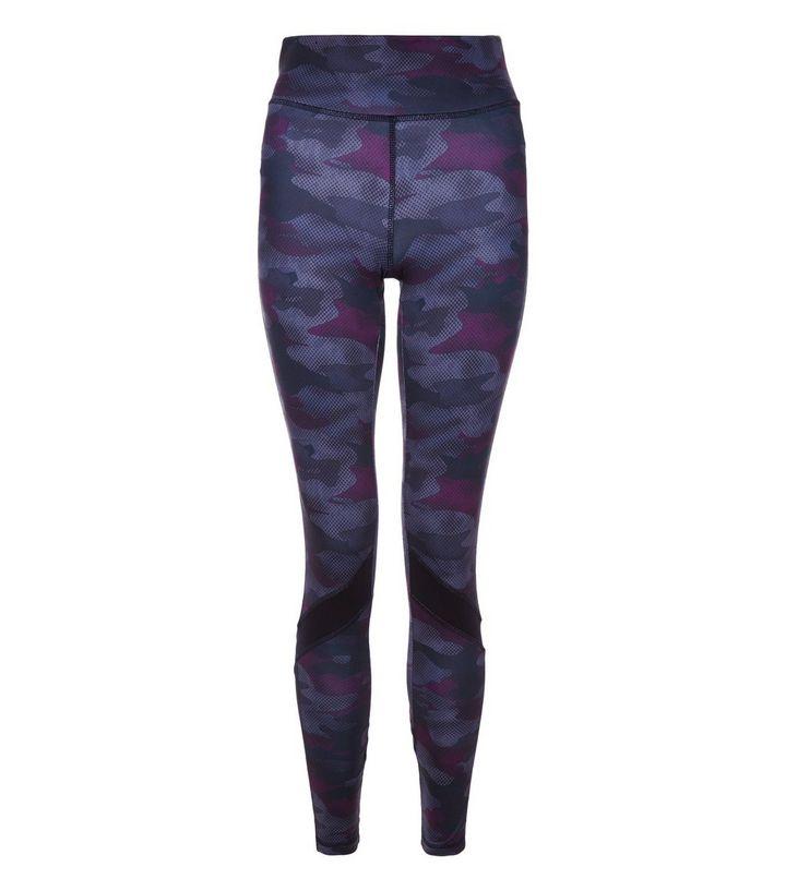 legging-de-sport-violet-foncé-à-imprimé-camouflage-pas cher