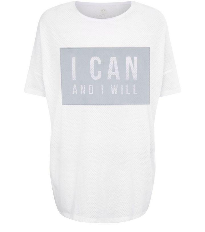 t-shirt-blanc-de-sport-en-tulle-à-slogan-i-can-pas cher