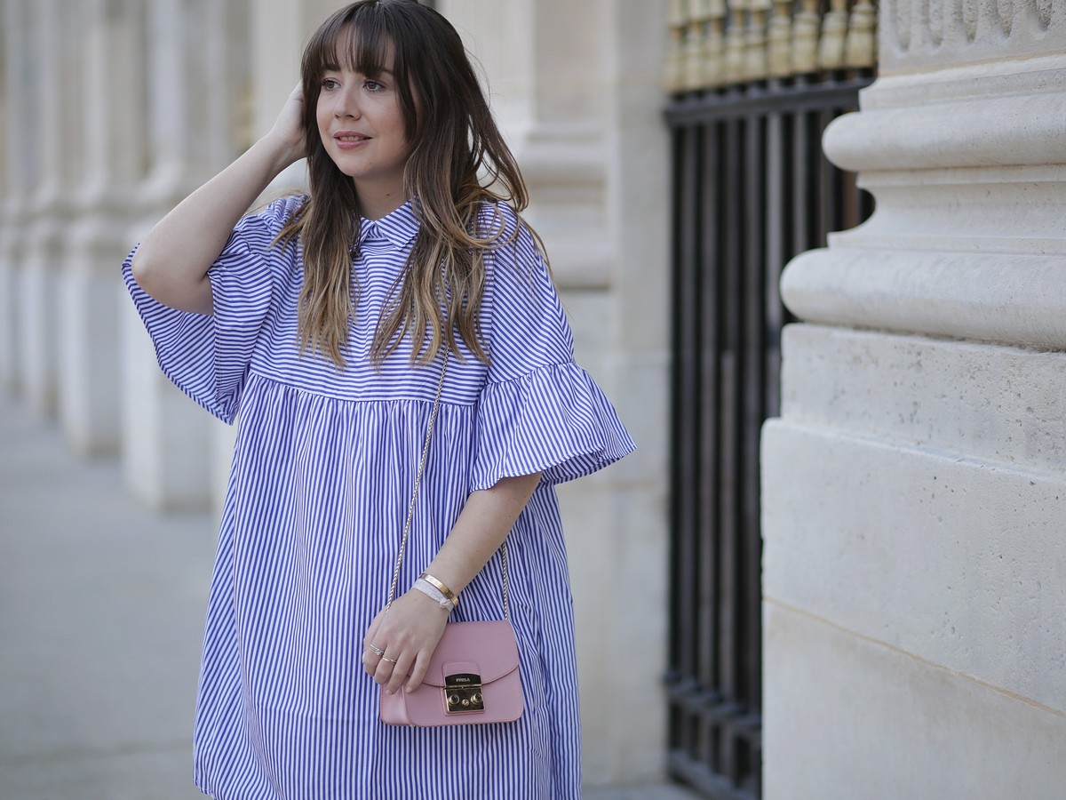 shein - stripes dress - robe rayée - girly - romantique - look - outfit - paris