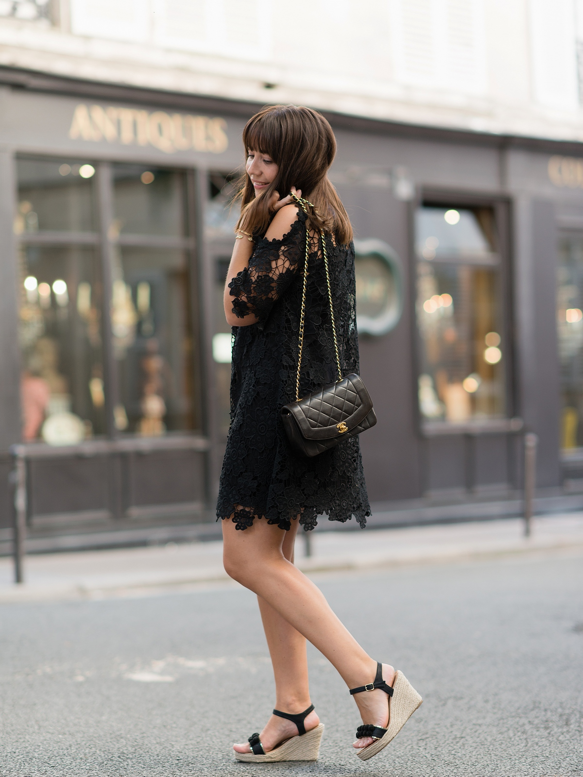 la petite robe noire - crochet - black dress - summer - parisienne - chanel bag - sac