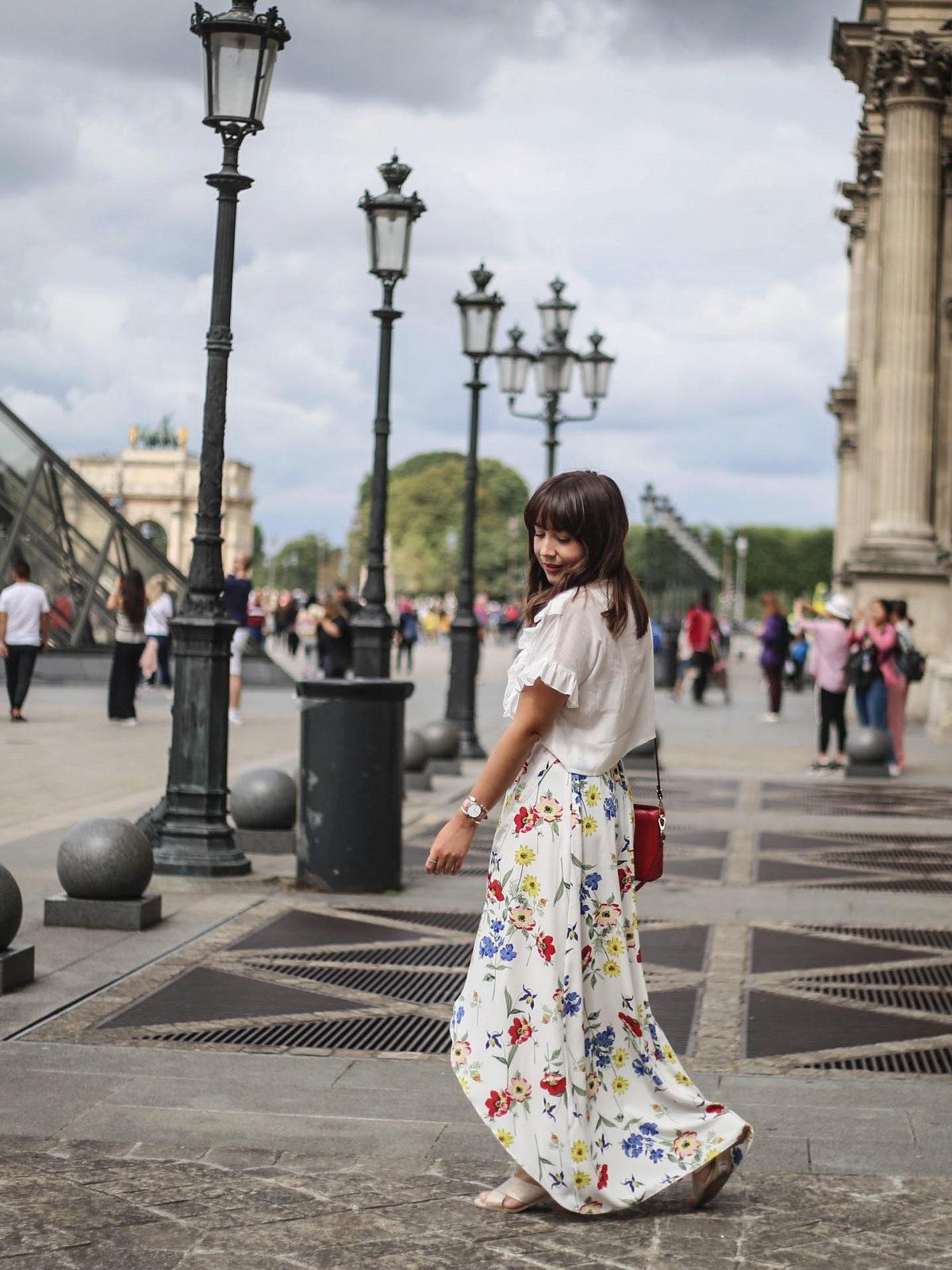 jupe longue fleurs - crop top volants blanc - boohoo style