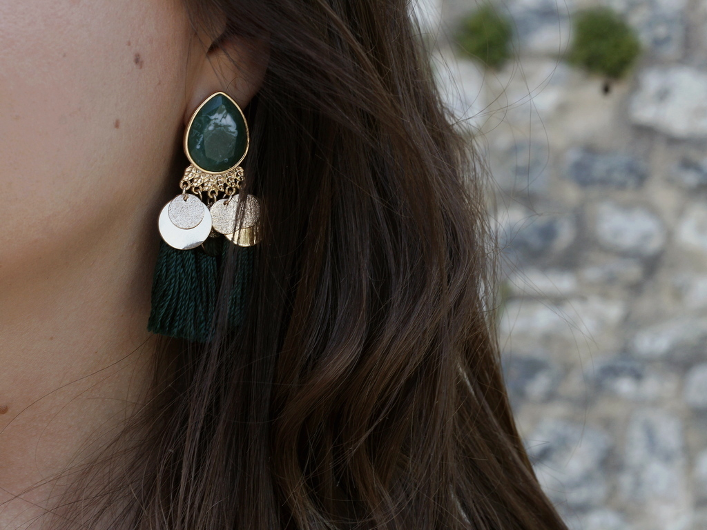 boucles d'oreilles - vert - h&m pas cher