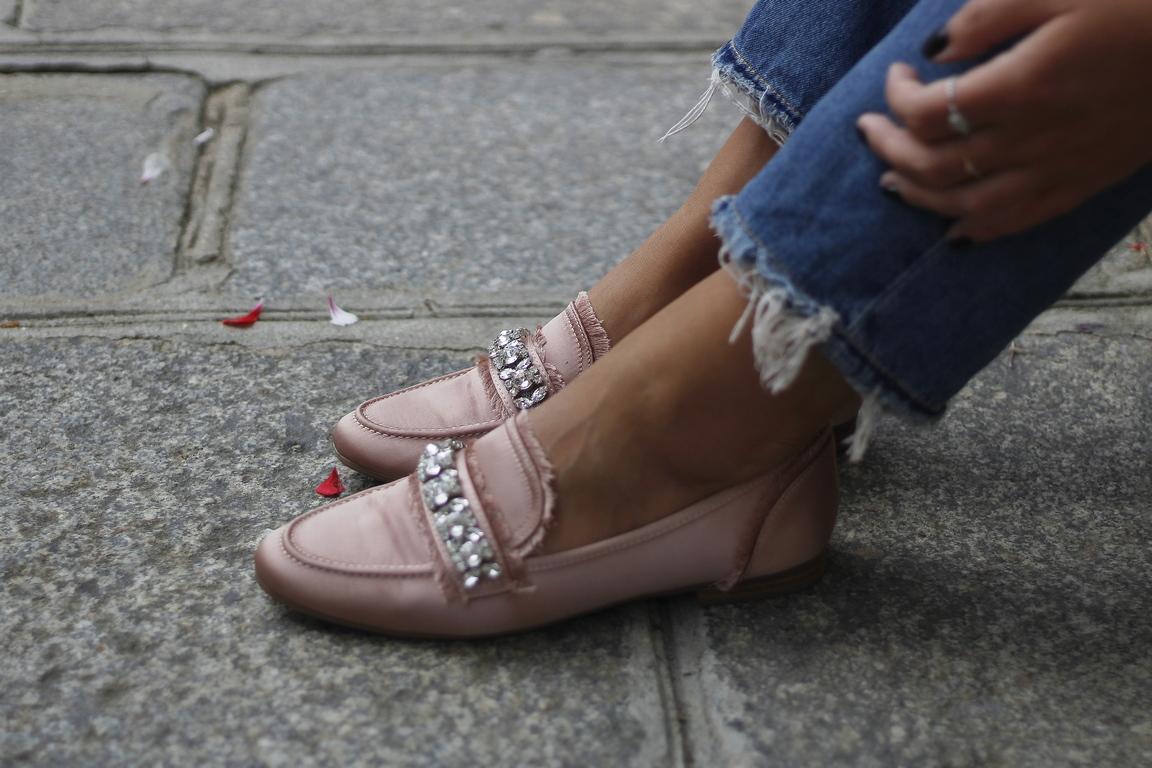 pink loafer - mocassins rose - justfab - shoes