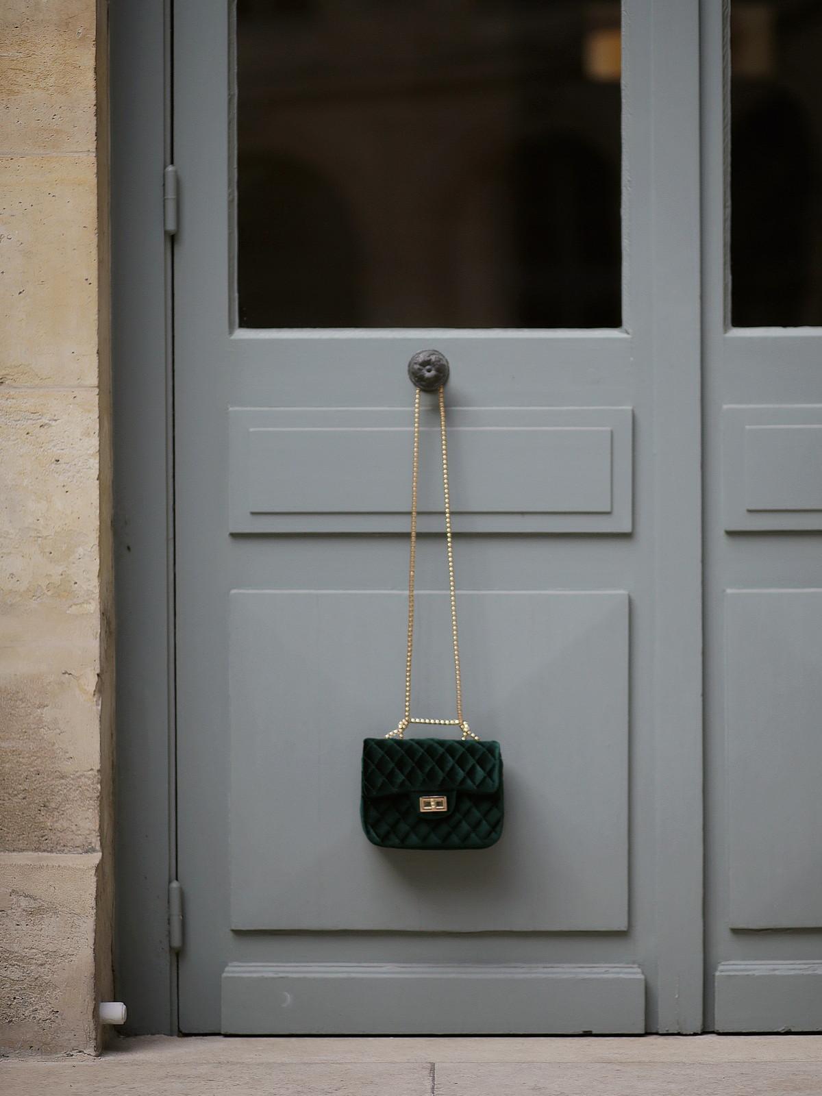 sac vert velours - green velvet bag - shein - du style madame