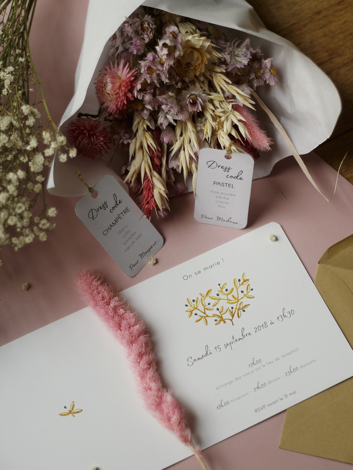 faire-part mariage champetre pas cher - popcarte - du style madame - chic - original