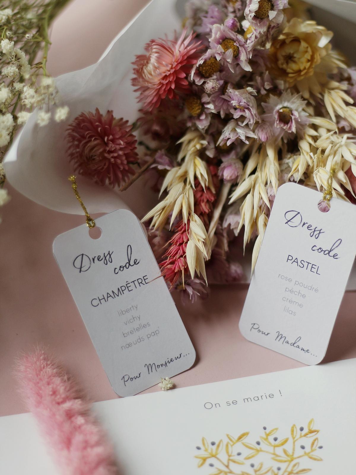 étiquettes mariage dress code champetre pastel pas cher - du style madame - chic - original - tendance