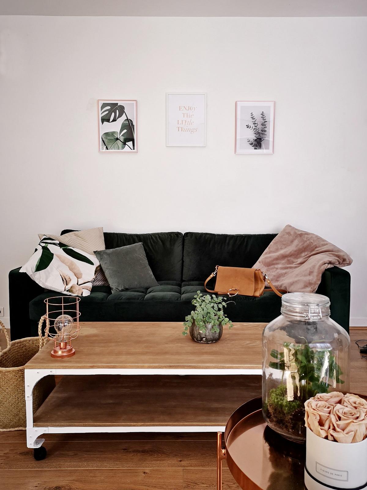 déco - cadres - poster - botanique - desenio - home - canapé vert velours - pas cher - cdiscount - table basse manguier bois - maisons du monde